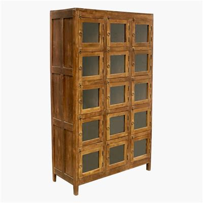 Teak 15-locker cabinet with glass doors