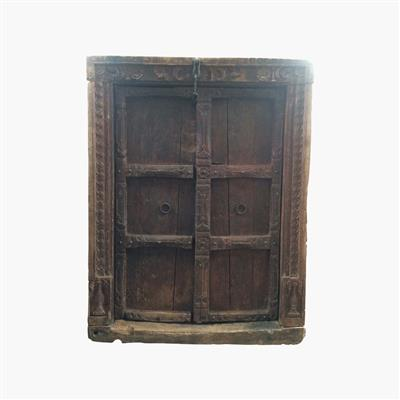 Brown old solid carved door+frame