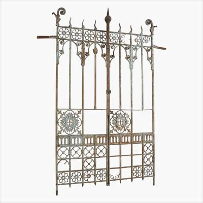 English Blueish cast iron gate