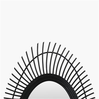 Rattan mirror peacock black