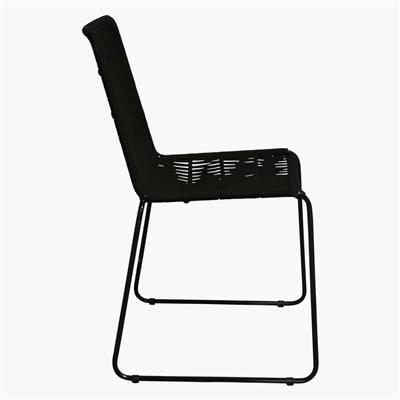 Rope slim dining chair black