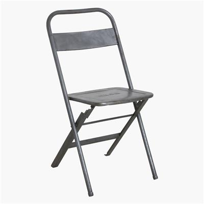 Iron folding bistro chair silver