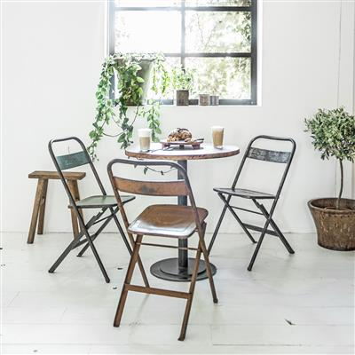 Iron folding bistro chair cream