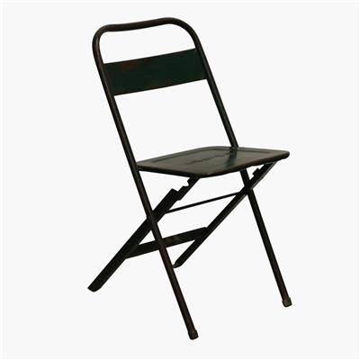 Iron folding bistro chair green mix