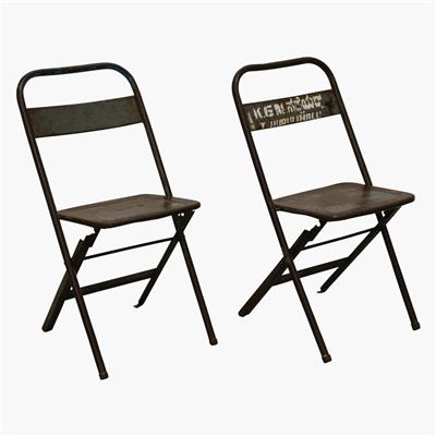 Iron folding bistro chair steel grey