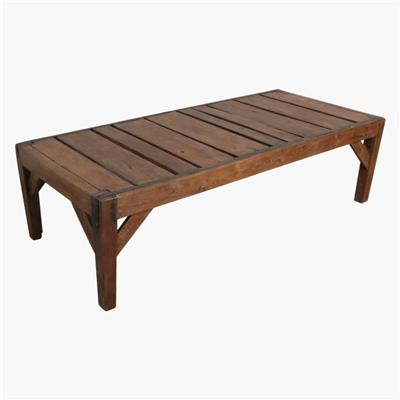 Teak iron paneled coffee table