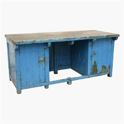 Blue green industrial workbench