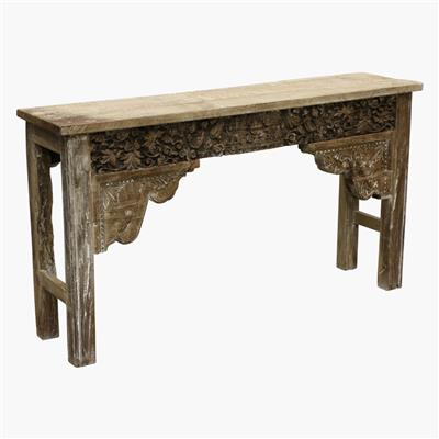 Carved white wash console