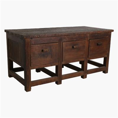 Teak industrial table, 3 drawers