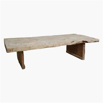 Natural wood thick coffee table