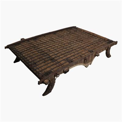 XL ox-cart coffee table with brass and iron