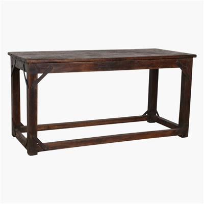 Teak industrial table + iron support
