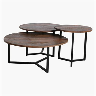 Factory round coffee table set of 3