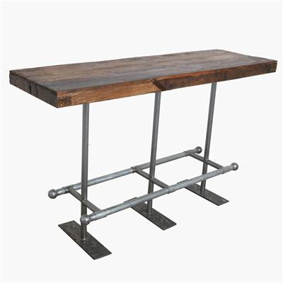 Market bar table brown with iron base