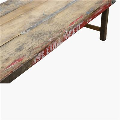 Coffee table brown top & white/red edge